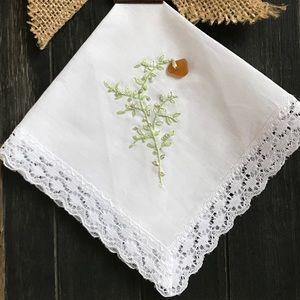 Gift Handkerchief Lace Embroidered W/Sea Glass